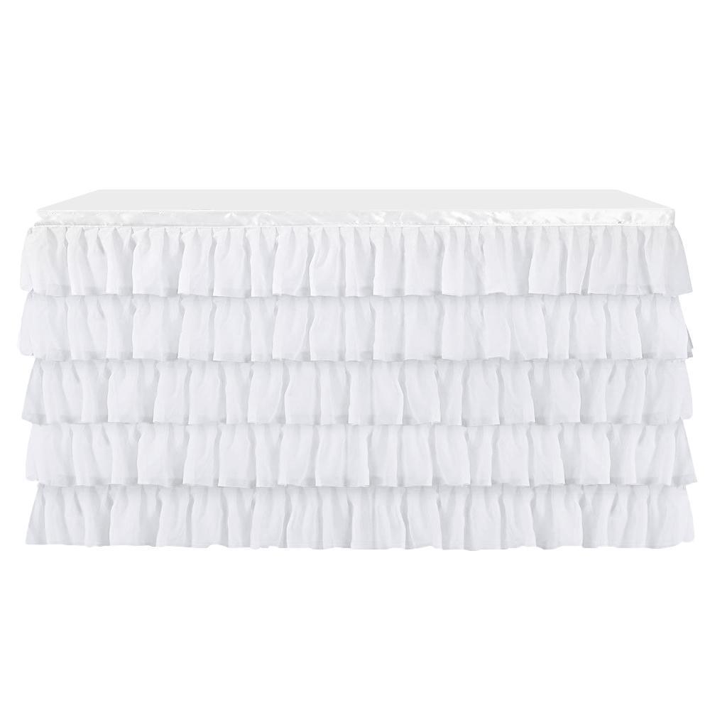 Chiffon Yarn Table Skirt Skirting White for Wedding//Birthday Party Decor