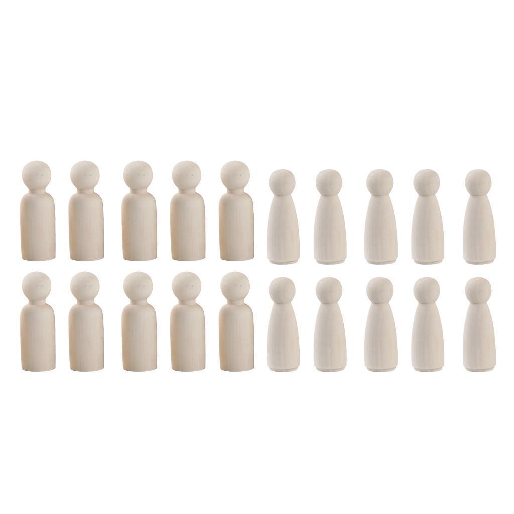 10 Stück Holz Figurenkegel Holzfiguren Spielfiguren Puppen Hochzeit