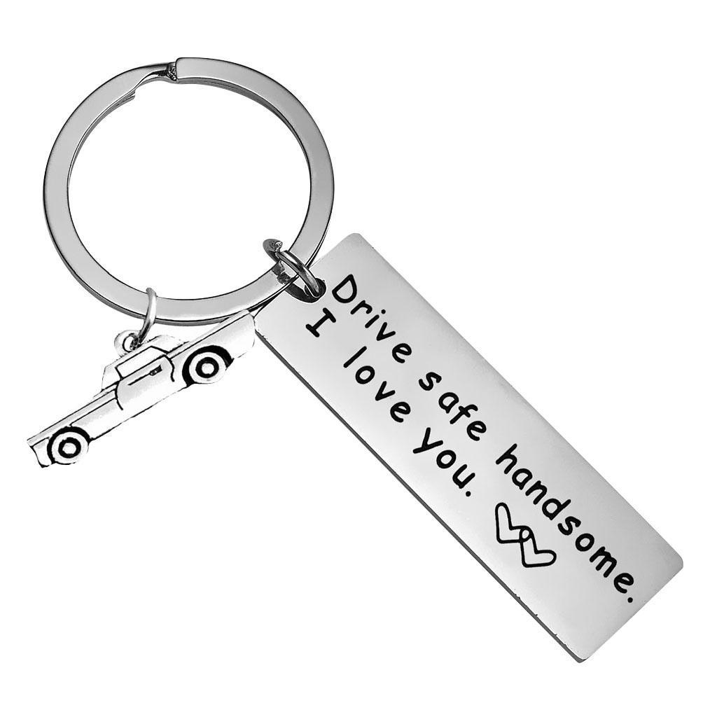 Drive Safe I Need U Here with Me Keychain Keyring Husband Dad Boyfriend Gift