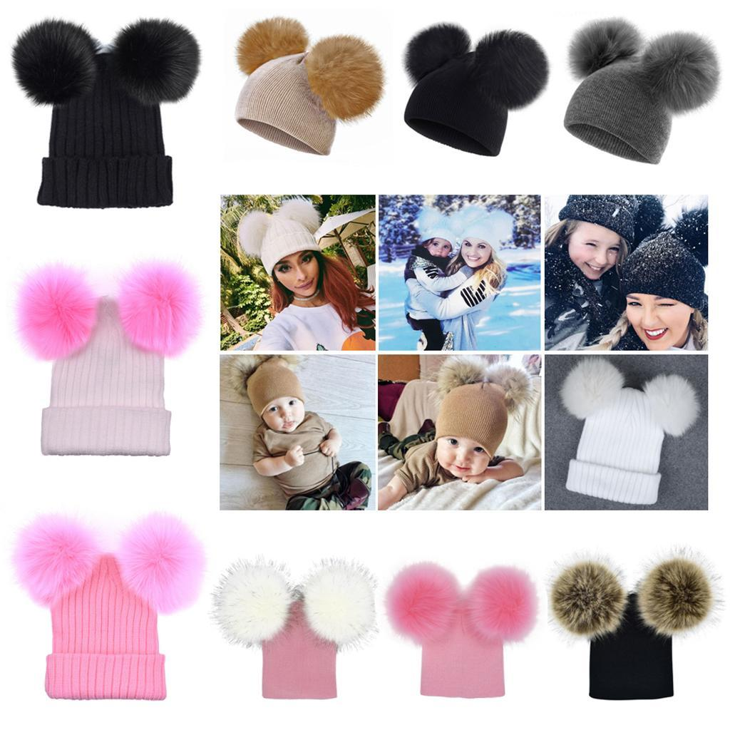 Baby Kids Winter Hat Knitted Warm Double Fur Pompom Caps Beanies Boys Girls