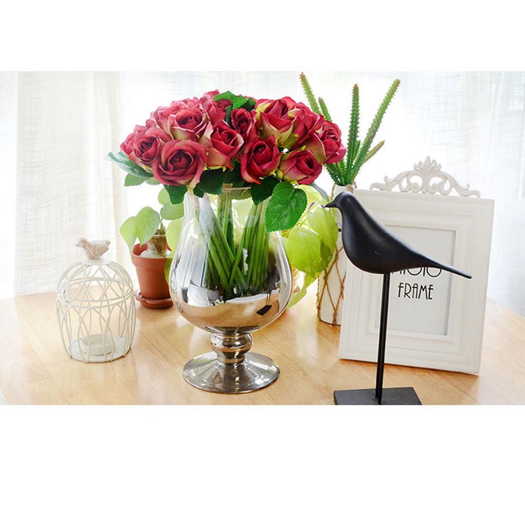 16cm Hochzeit 9 Köpfe Künstliche Rosen Seiden Blumen Kunstblumen 25
