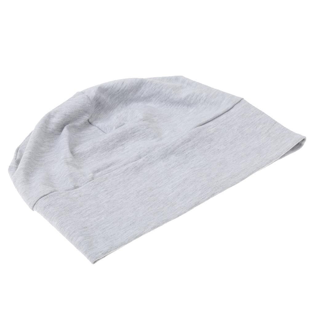 Prettyia Men Cotton Night Cap Sleeping Head Hat Plain Beanie Chemo Hair Wear