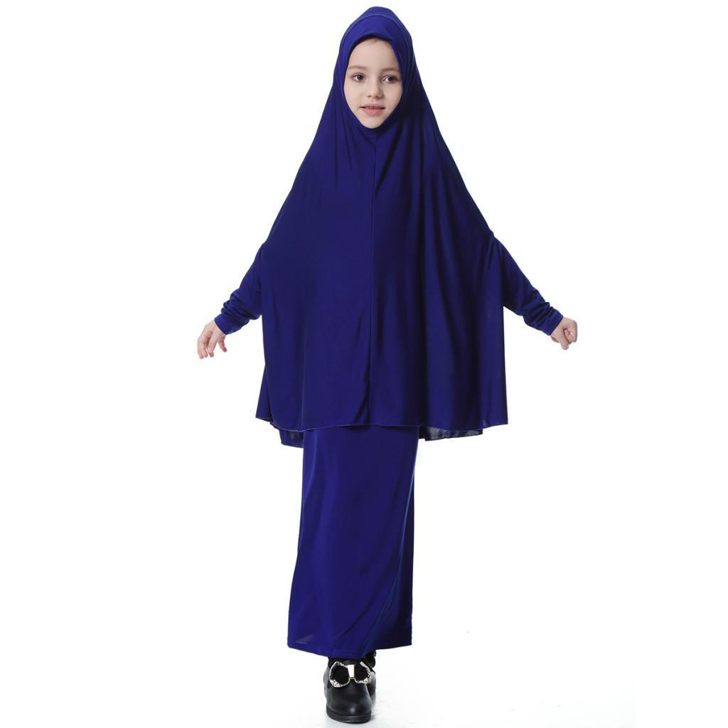 Muslim Girls Long Sleeve Dress Abaya Islamic Maxi Robe Gown Prayer Clothing