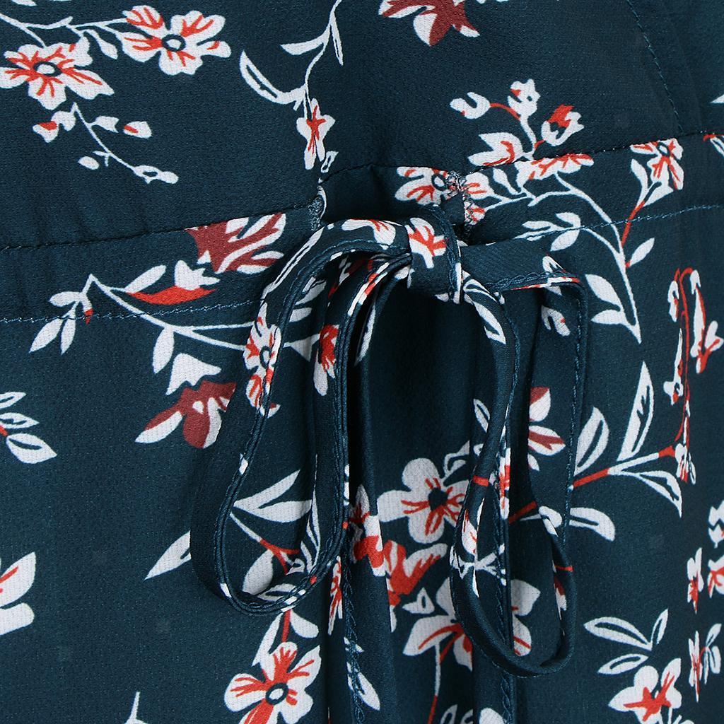 Blumentee Wickelkleid 3//4-Ärmeln tiefem V-Ausschnitt flare Midikleid