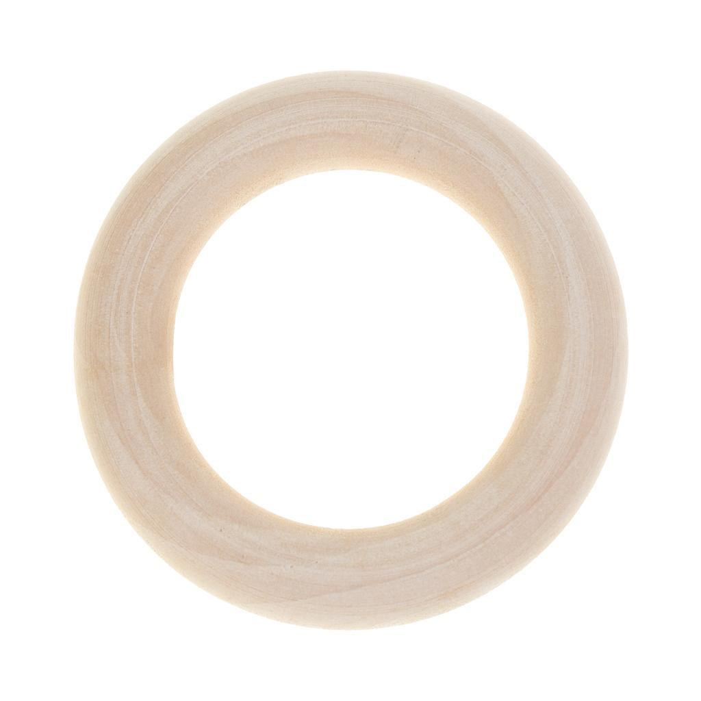 20pcs Natural Unfinished Wooden Teether Wood Baby Teething Ring Toys DIY Crafts