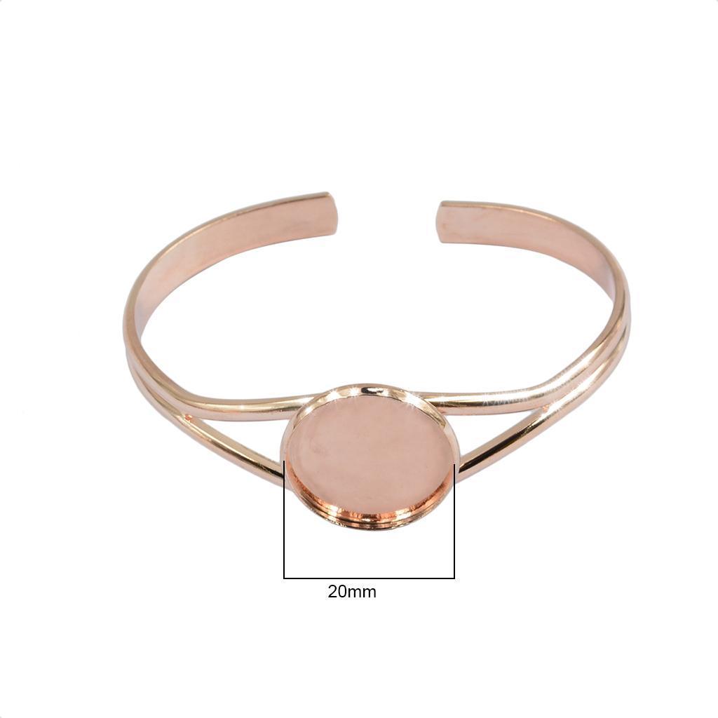 2pcs 20 mm round paramètres lunette Plateau bricolage Bracelet Base Pour Cabochon Camée