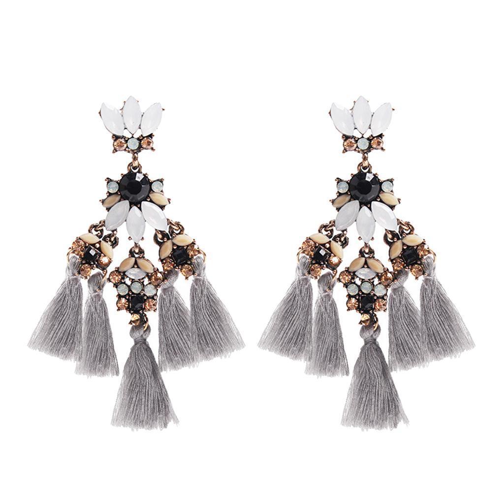 1 Paar Vintage Ohrring mit Lange Quaste und Kristall Strass Hängende