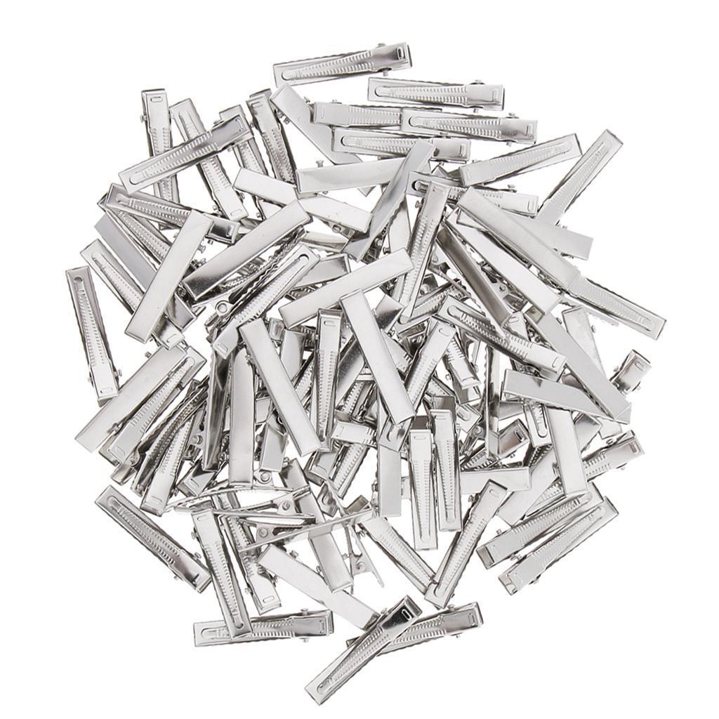 100x Small Medium Lot Silver Crocodile Alligator Bow Blank Hair Clips Pins