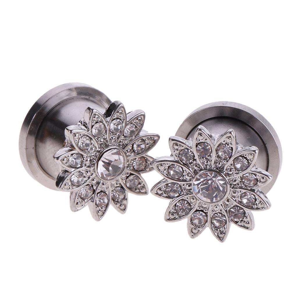 Stylish Women 2 Pcs Flower Tunnel Ear Plug Ornate Stainless Steel Jewelry