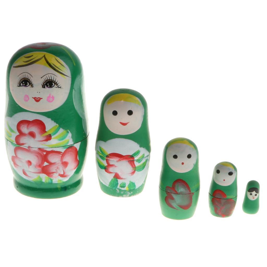 5//6pcs Wooden Nesting Dolls Matryoshka Toys Babushka Girl Matryona Doll Kid Gift