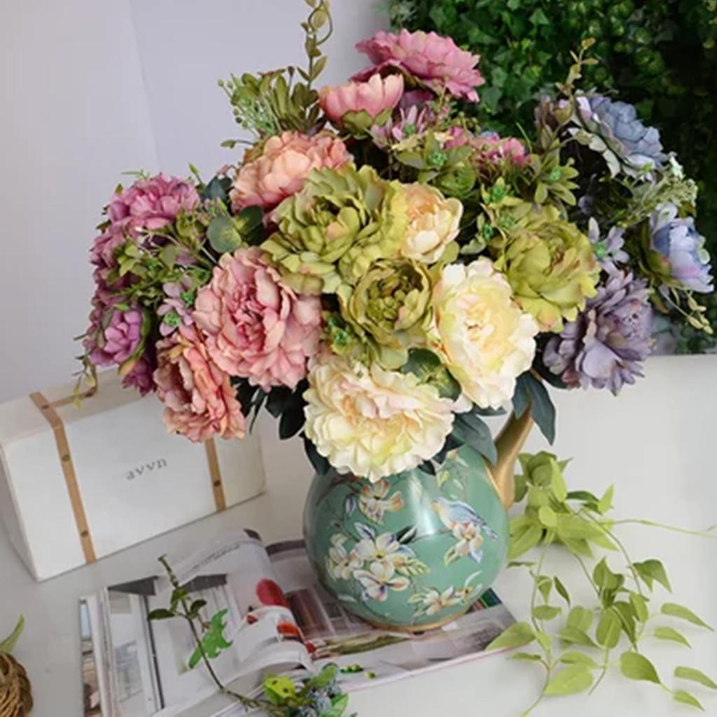 6 Heads Open Rose Bouquet Premium Fake Silk Artificial Flowers Wedding Decor