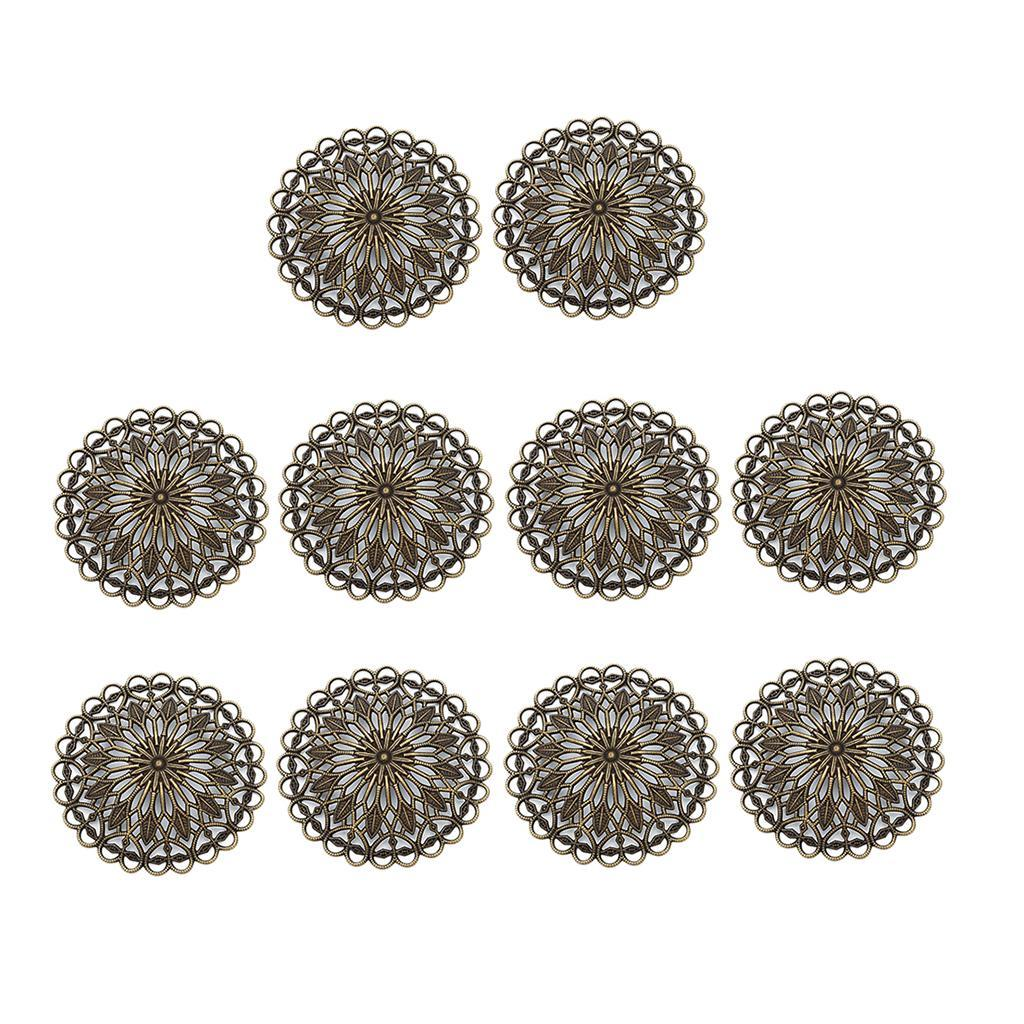 10 Pcs 36mm Round Hollow Slice DIY Jewellery Findings Components Making