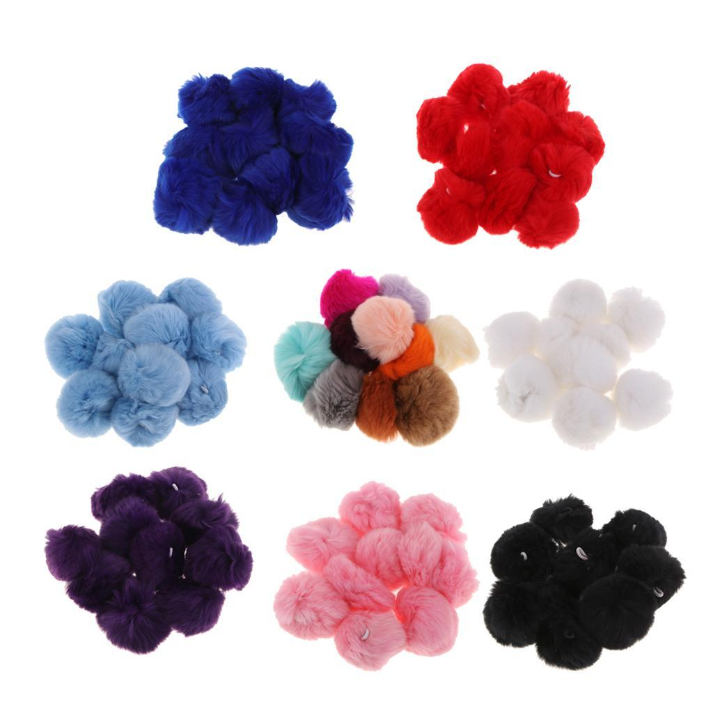 10x DIY 2.4inch Faux Rabbit Fur Pom Poms Ball for Knitting Hats Accessories