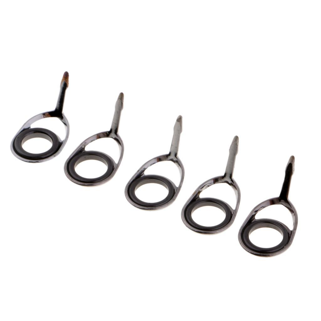 5pcs Single Leg Rod Guides Fishing SIC Eye Rings  Free Pole Repair Kit