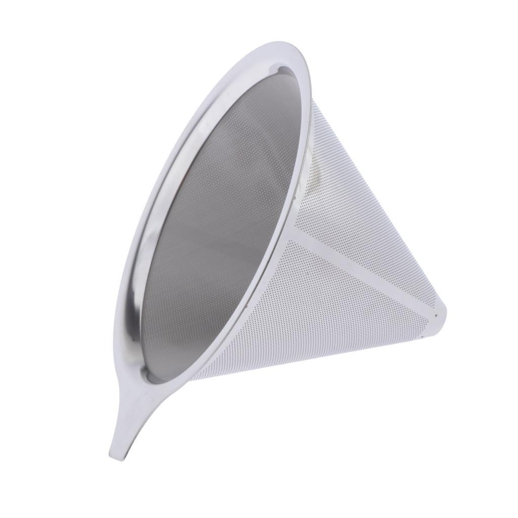 Stainless Steel Pour Over Coffee Cone Dripper Reusable Double Filter Mesh
