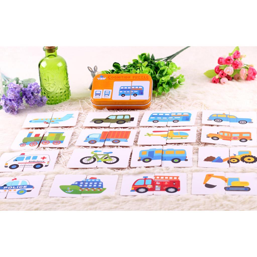 32x Toddlers Playing Flashcards Shape// Animal// Color Educational Pocket Card