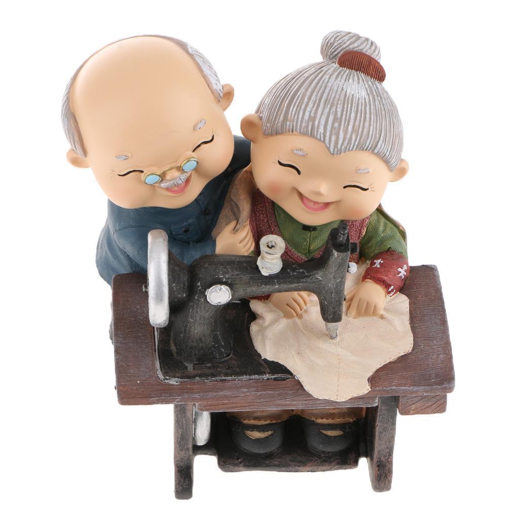 Romantischer China Alter Mann und Frau Ehepaar Liebespaar Skulptur Fiugr