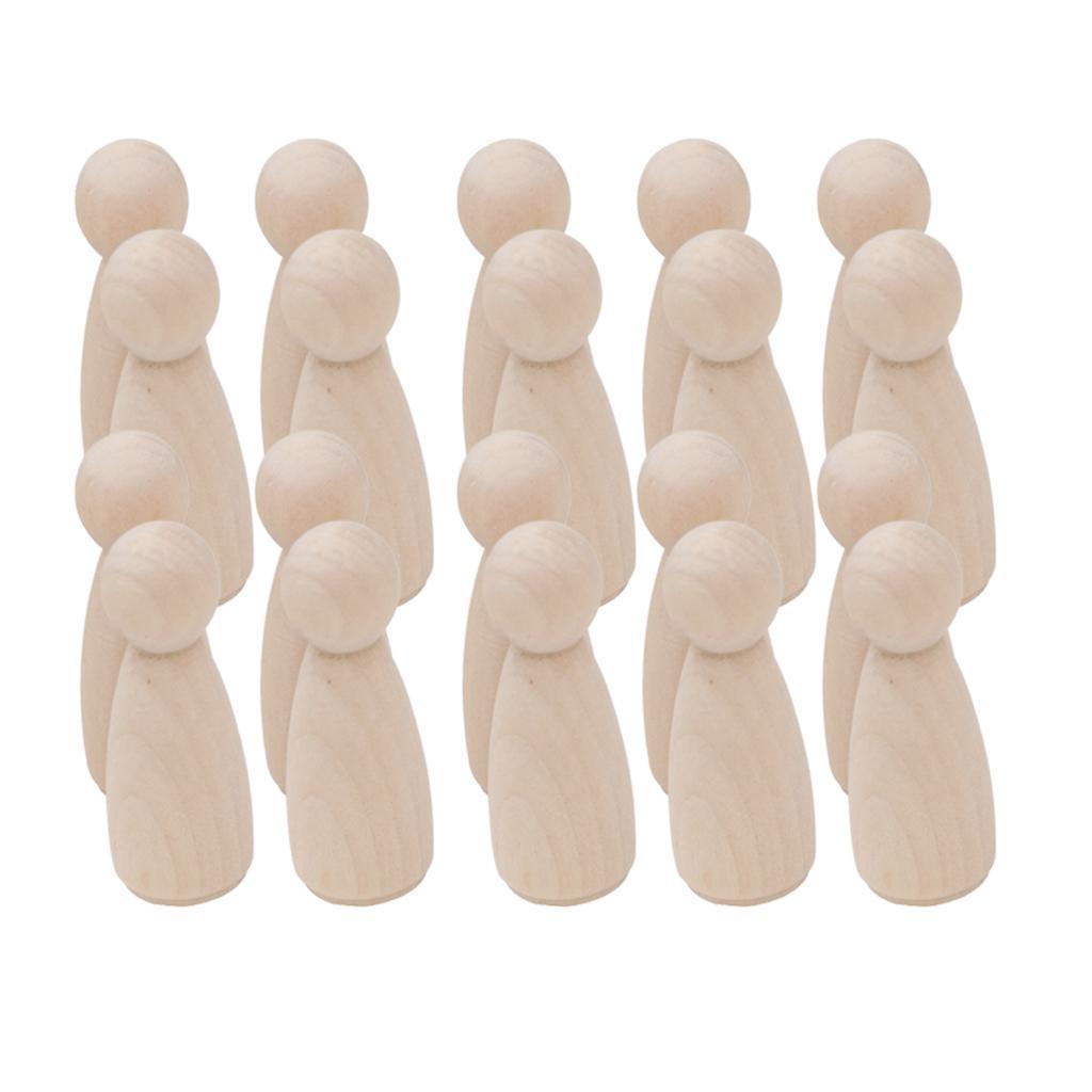 20Pcs Natural Blank Wooden Boy Girls Figures Peg Dolls Wedding Cake Topper Decor