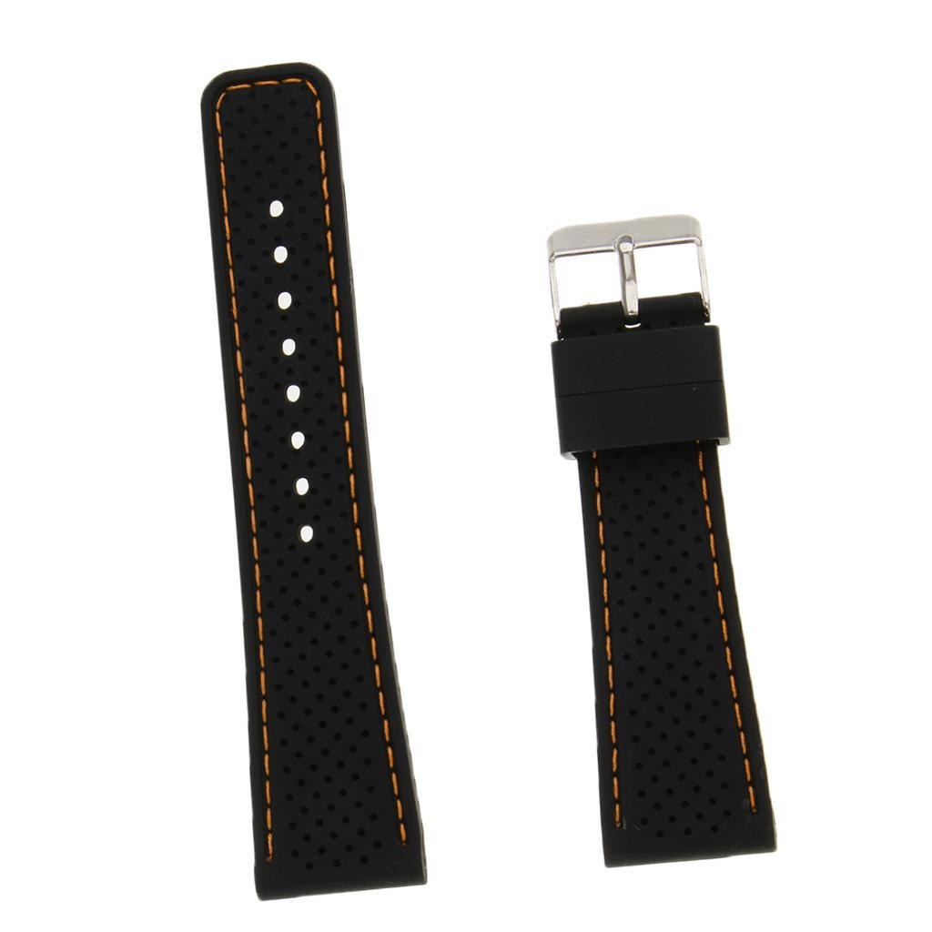 Mens Black 20mm Silicone Watchband Straps with Stainless Steel Pin Buckle
