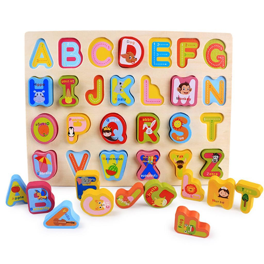 Wooden Shape// Number// Alphabet Puzzle Developmental Toys for Baby Toddlers