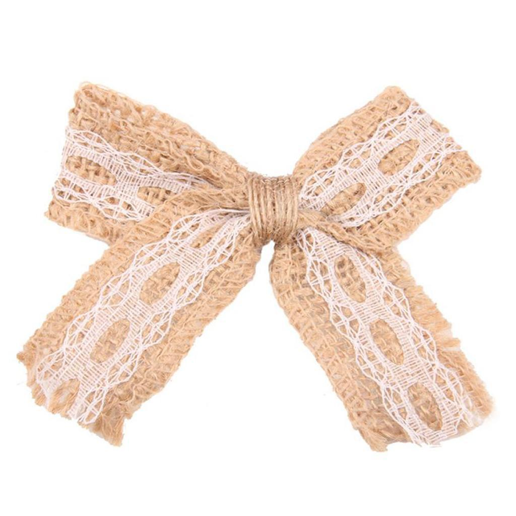 24 in 1 Rustic Jute Hessian Bowknot Bows Crafts Wedding Supply Burlap Decor