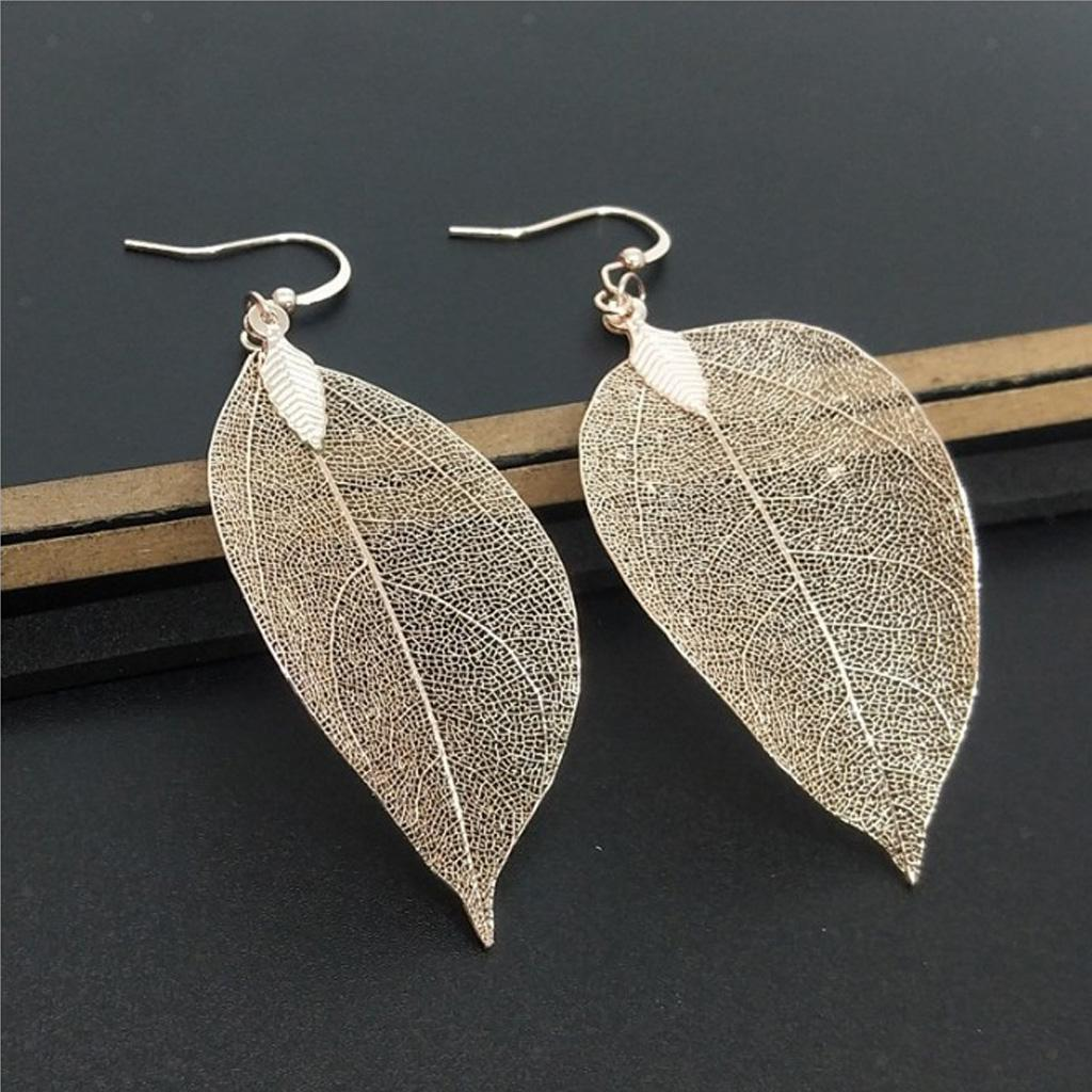 Natural Filigree Leaf Charms Necklace Jewelry Plated Leaf Pendant Earrings