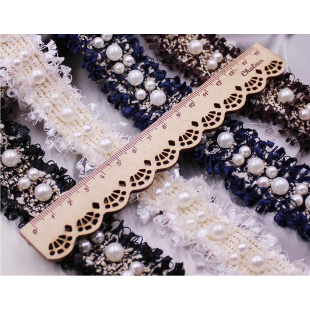 Blesiya 1 Yard Pearl Bead Ribbon Trim for DIY Wedding Bridal Dress Decor 3cm