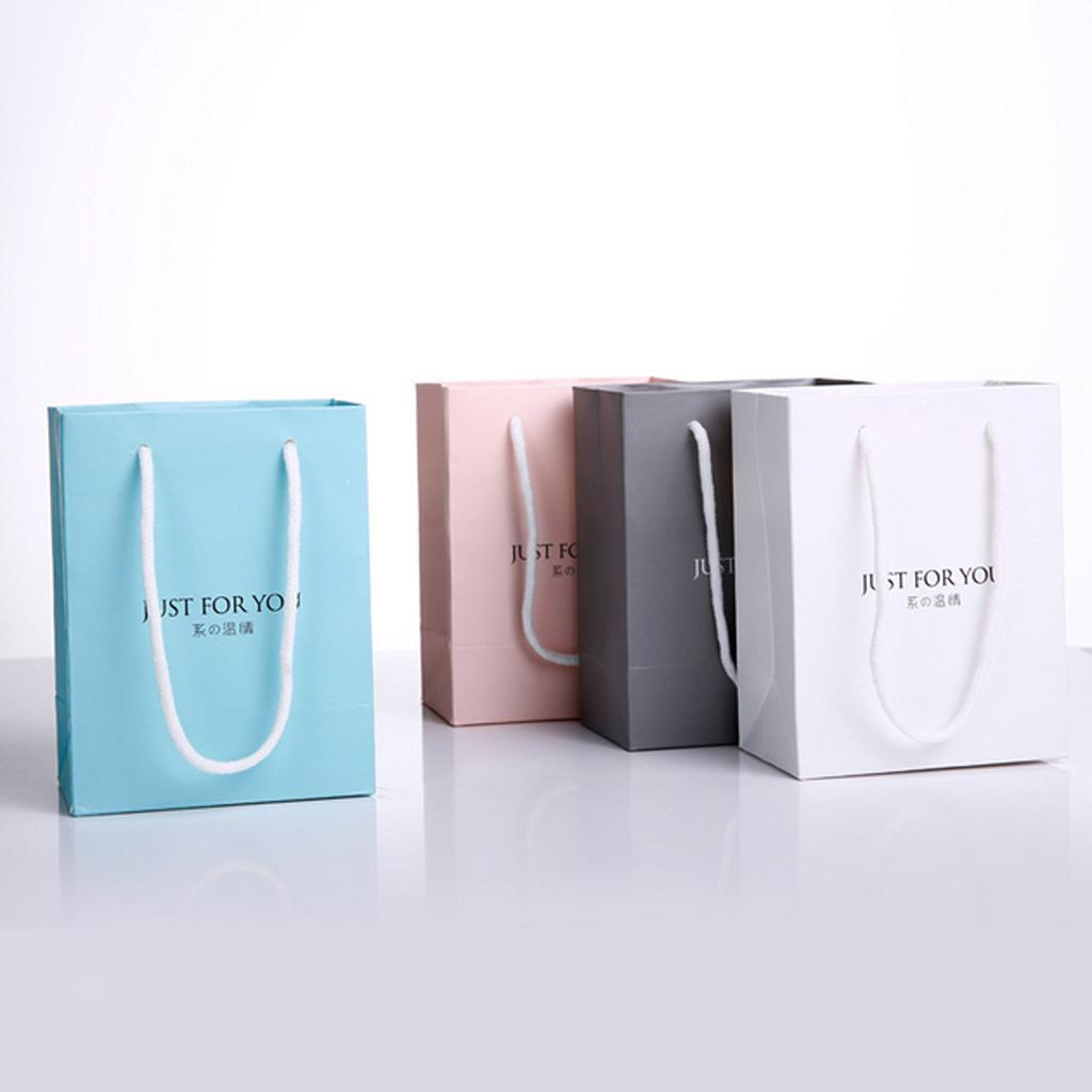 White Pink Blue Grey Small Paper Gift Bags Kraft Paper Bag Jewelry Pouch 5P