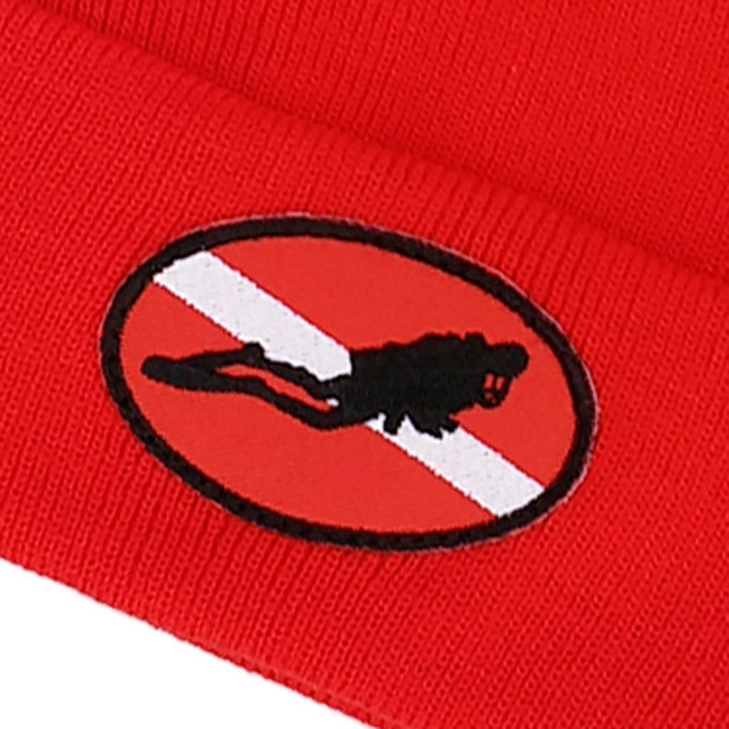 Diver Down Scuba Diving Snorkeling Knit Beanie Hat for Men Women Dive Flag