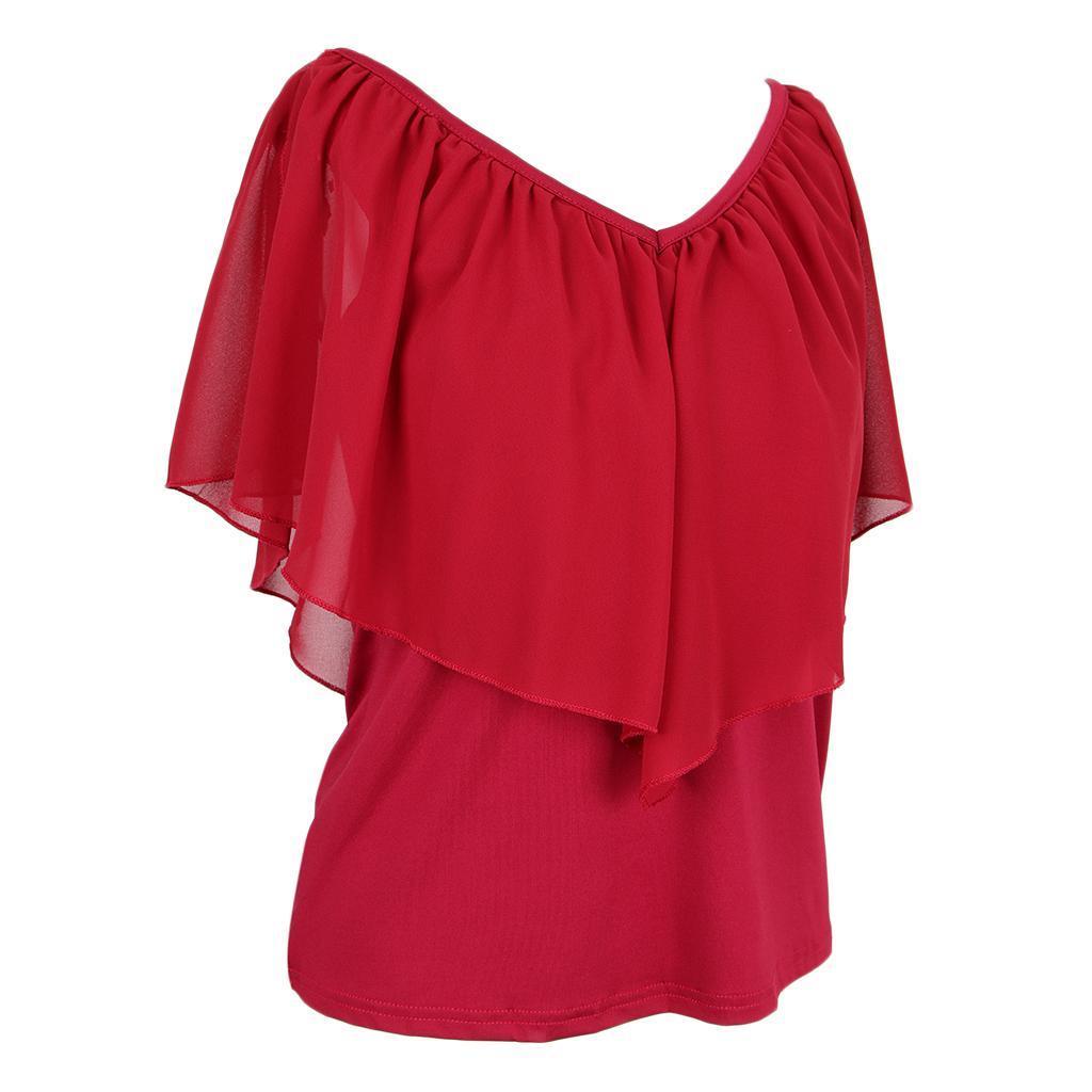 Frauen Cold Shoulder Rüschen Ärmel V-Ausschnitt Chiffon T-Shirts