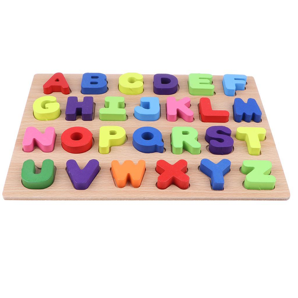 Wooden Geometry Block Puzzle Jigsaw Number Math Letter Alphabet Montessori Toys