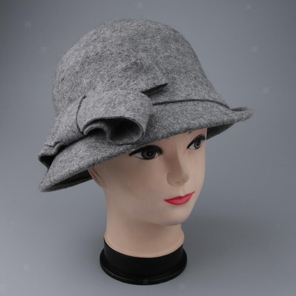 Prettyia Womens 1920s Vintage Wool Cloche Bucket Bowler Hat Winter Cap