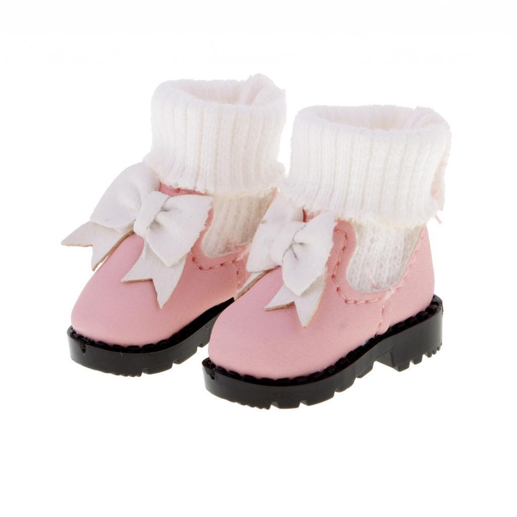 Cloth /& PU Leather Made High Top Bowknot Boots for 1//6 Blythe Azone Momoko Dolls