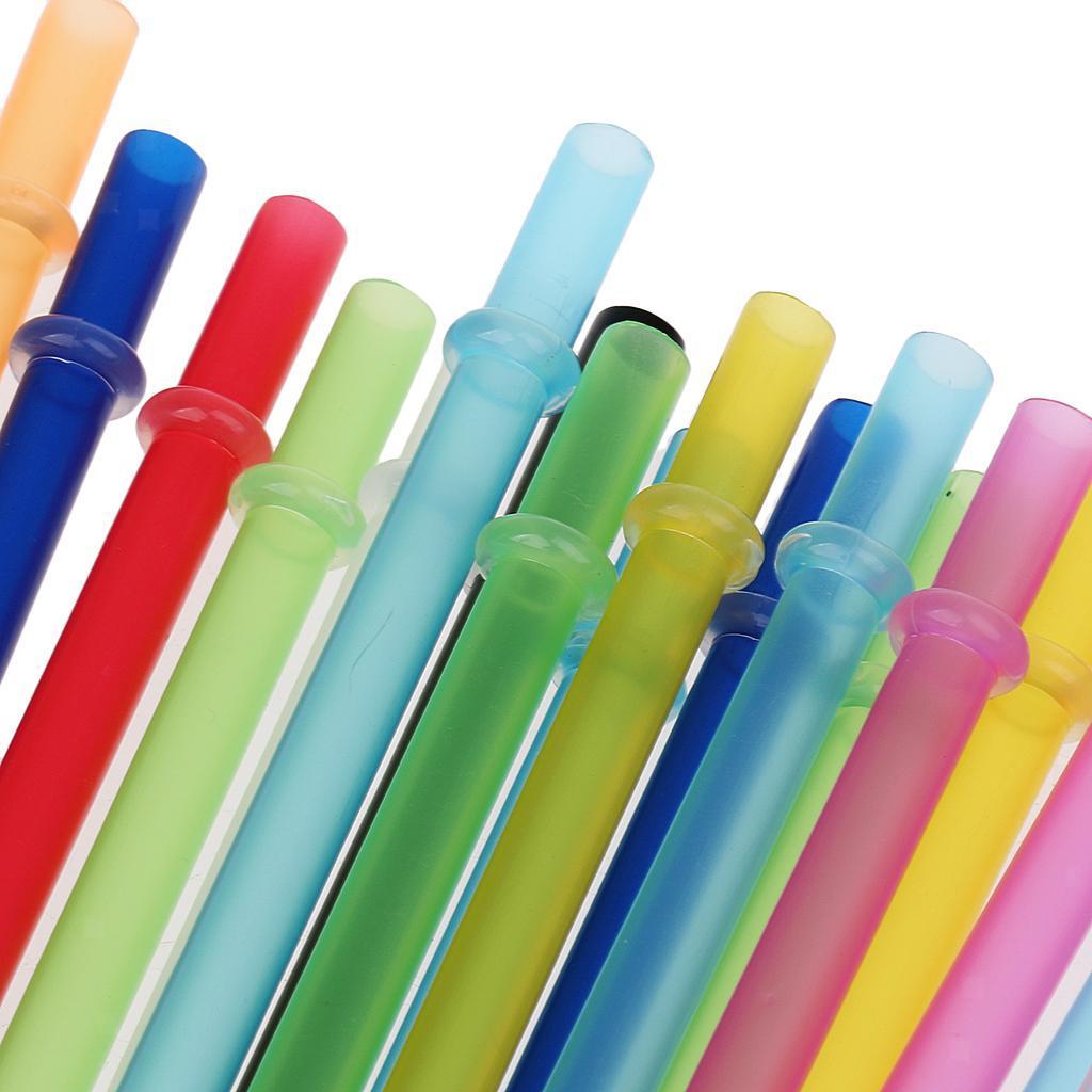 25Stück Wiederverwendbare Strohhalme aus Kunststoff mit Reinigungsbürste