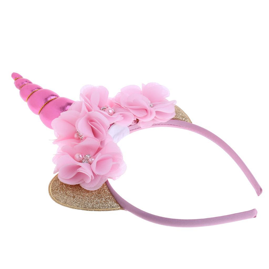 Pink//Rainbow Unicorn Horn Ears Headband Girls Magical Pony Dress Up Costume