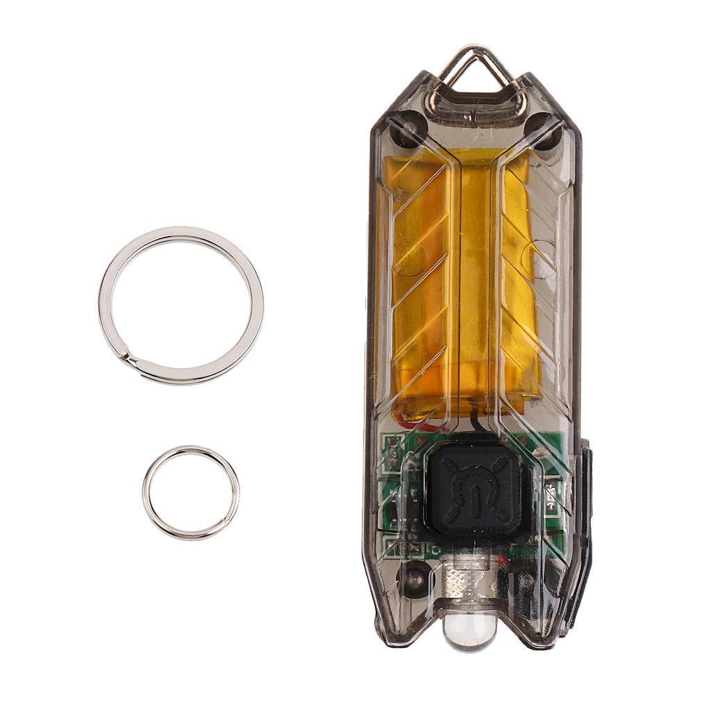 Mini 2 Modes Light LED Keychain Flashlight USB Charging Keyring Torch Lamp