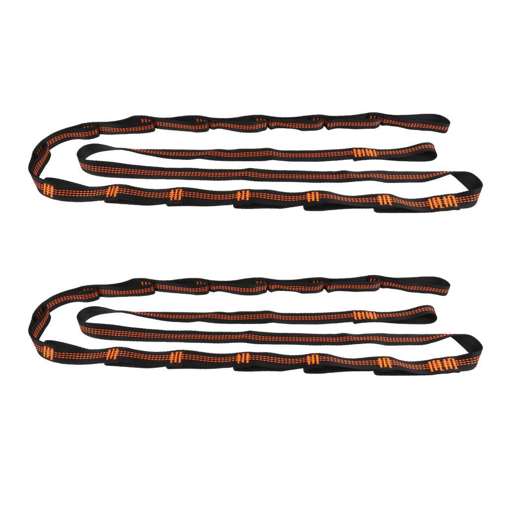 2pcs Hammock Hanging Tree Straps 280cm Nylon Webbing Belt 14 Loops