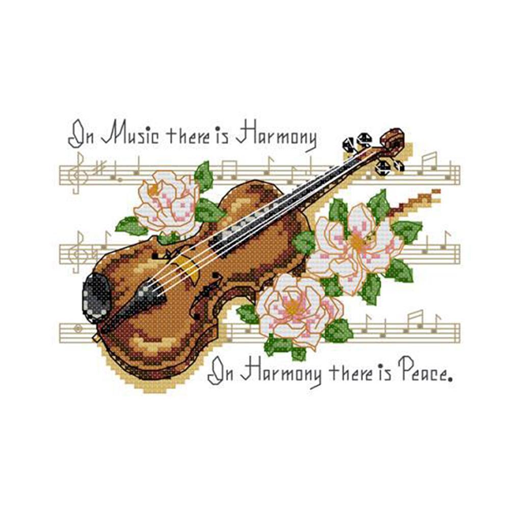 Stickvorlagen Kreuzstich Stickerei DIY Handarbeit Stickpackung set Violine