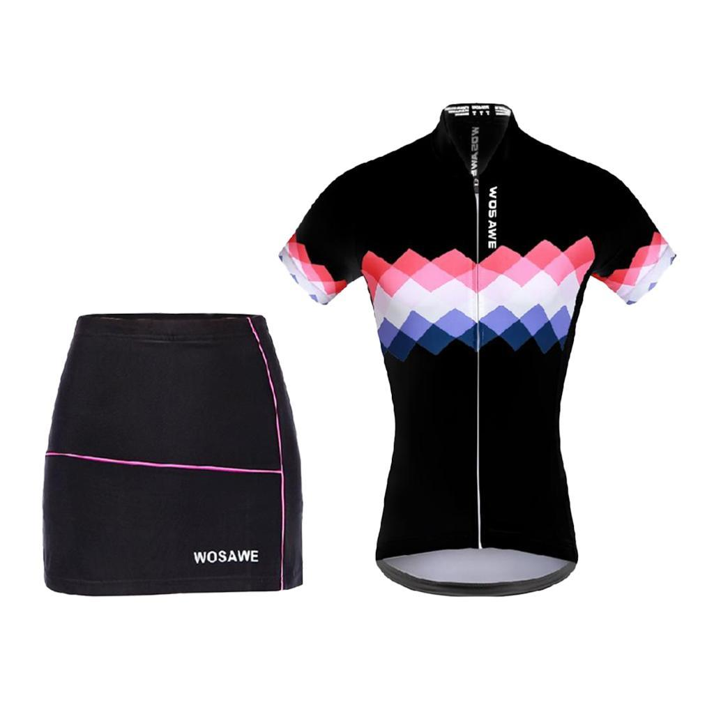 Womens Padded Cycling Shorts Skirts with Short Sleeve Riding Bike Sportswear