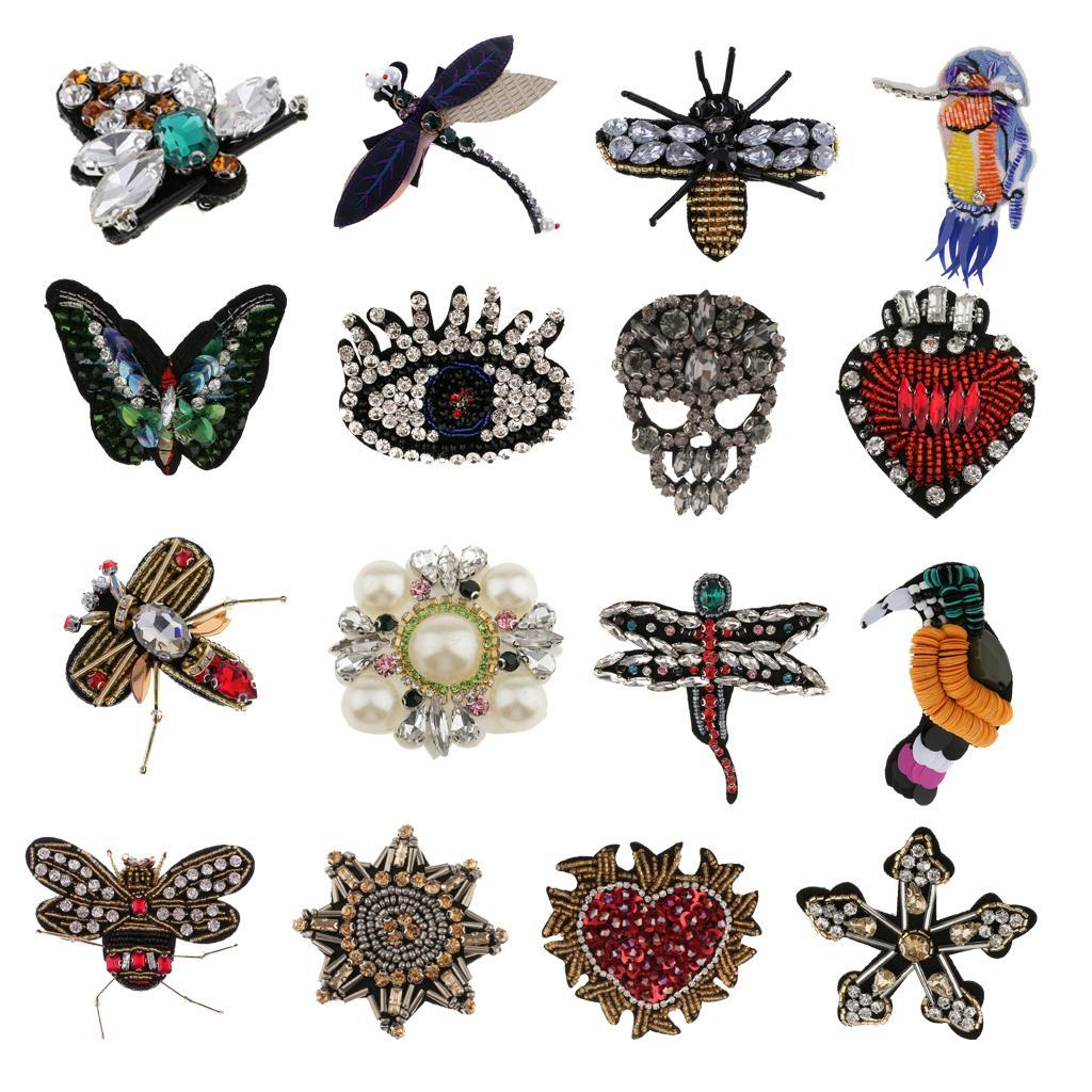 Rhinestone Embroidered Iron On Fancy Dress Sew On Patches Badges Transfers