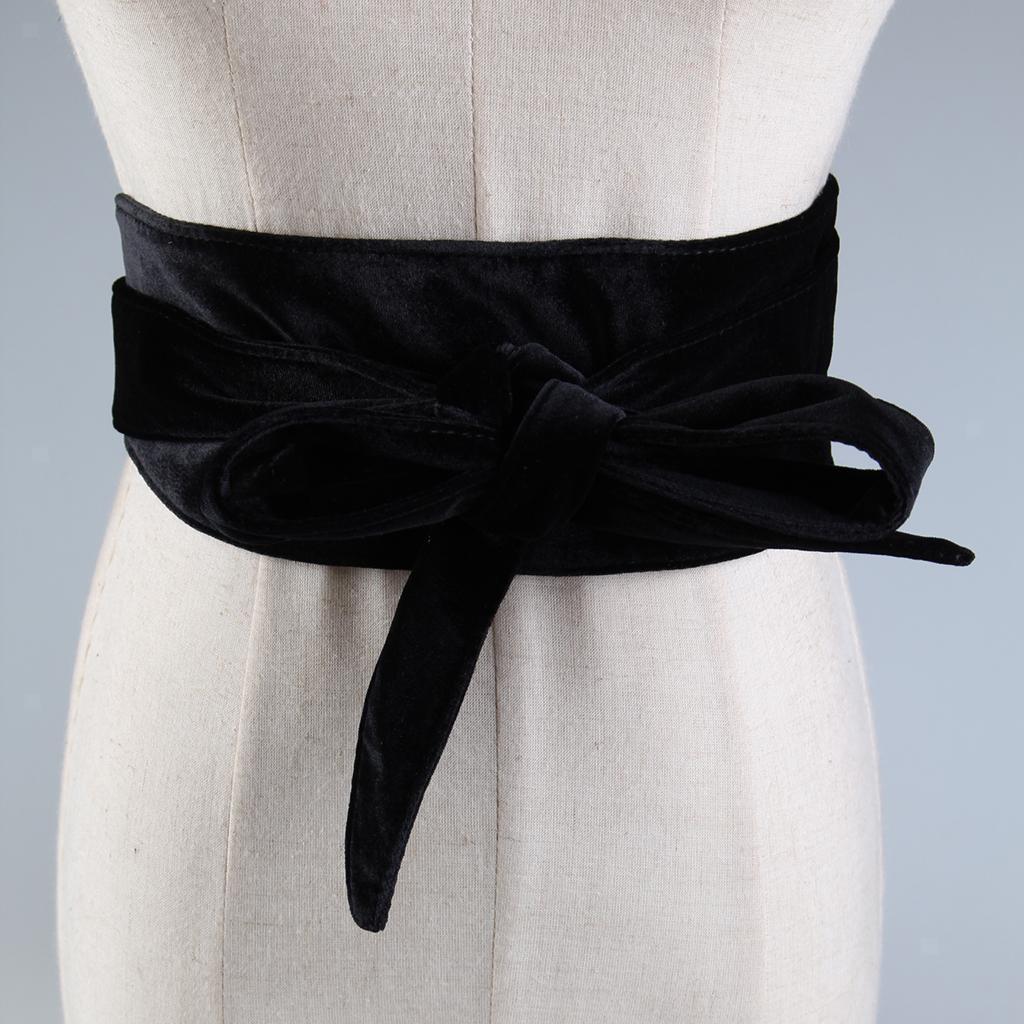 Women/'s Velvet Bowknot Elastic Buckle Wide Waist Belt Waistband Corset Belt