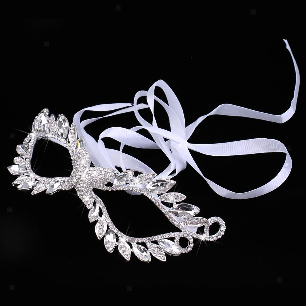 Stunning Silver Rhinestone Masquerade Eye Mask Halloween Party Prom Fancy Dress