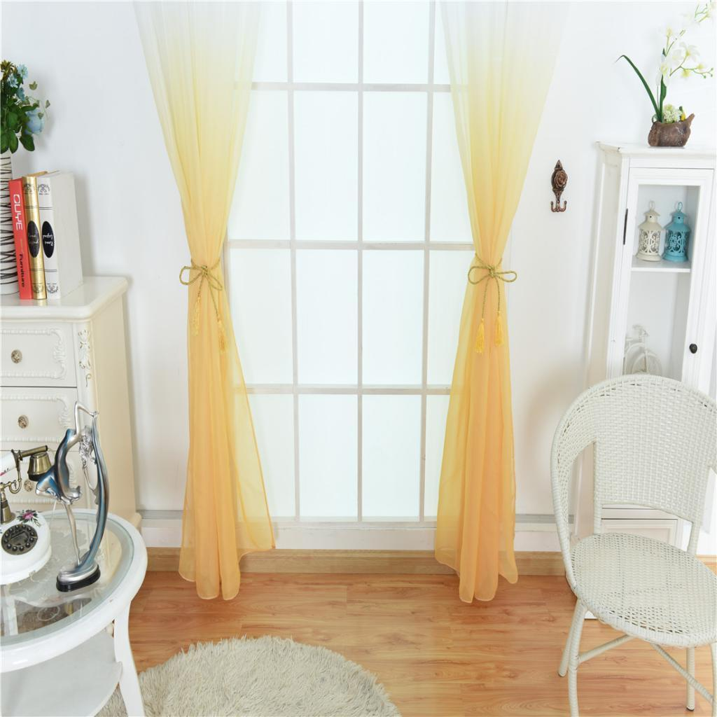 100x200cm Gradient Color Window Tulle Voile Curtain Panel Sheer,Rod Pocket Style