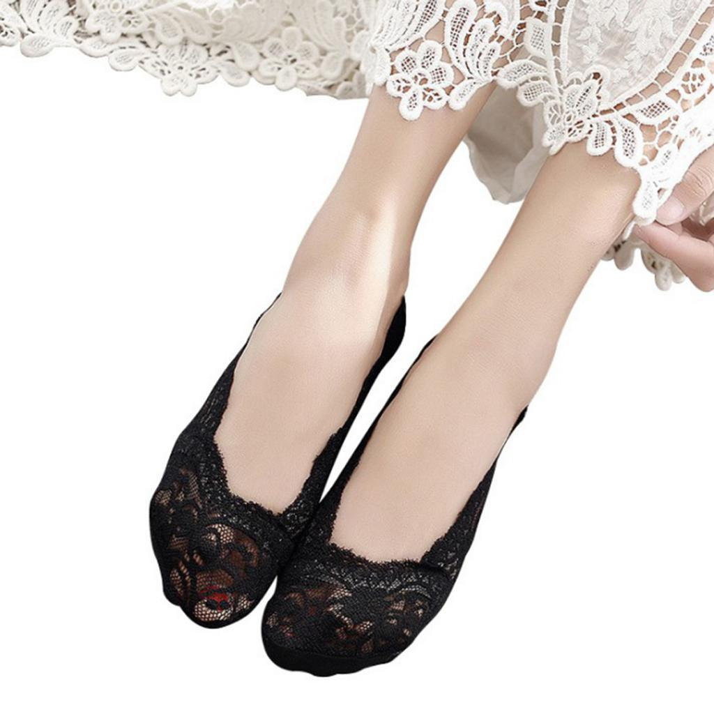 5 Pairs Women Lace Anti-Skid Invisible No Show Low Cut Socks Fit for Summer