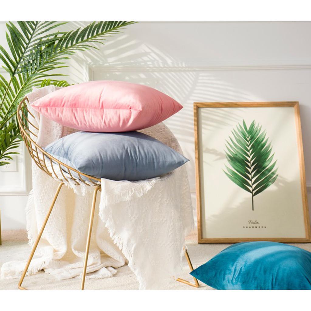 MagiDeal Solid Colors Luxury Velvet Cushion Cover Decorative Pillow Case