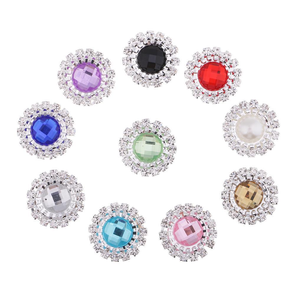 10pcs Round Acrylic Pearl Rhinestone Flatback Buttons Wedding Embellishment