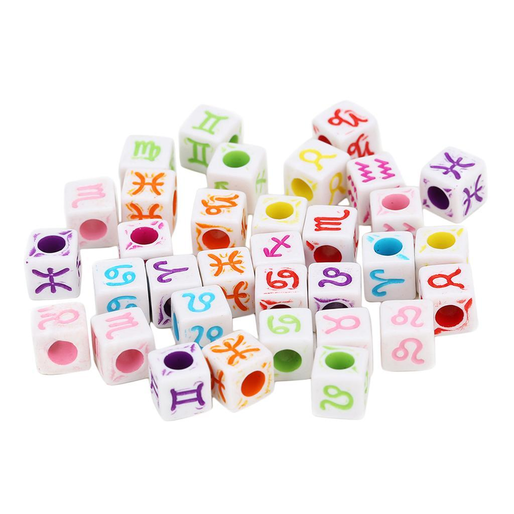 100 Stücke Weiß Acryl Horoskop Perlen Cube Perlen Sternzeichen Perlen