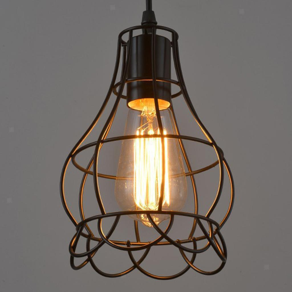 Vintage Metal Guard Pendant Light Bulb Cage Ceiling Hanging Lampshade 5style