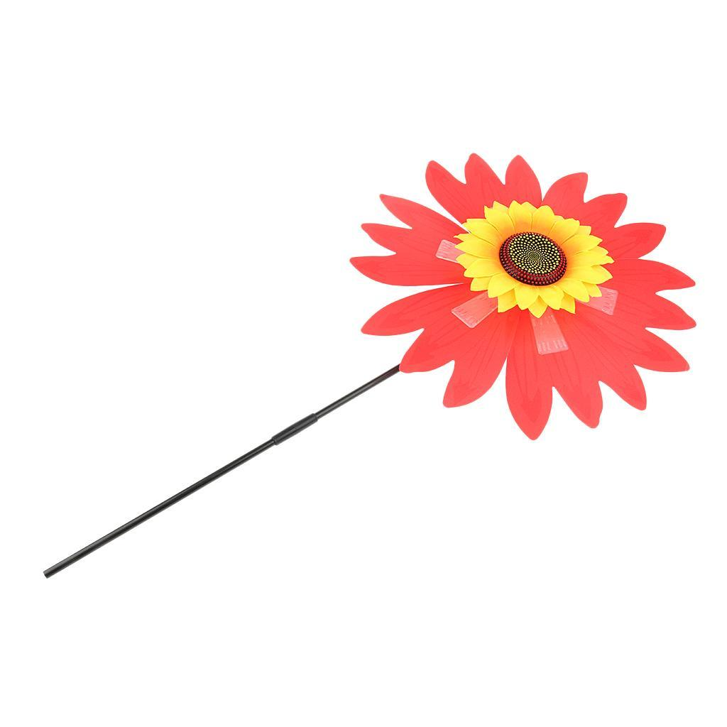 Windmill Wind Spinner Colorful Flower Outdoor Garden Decoration Family Party