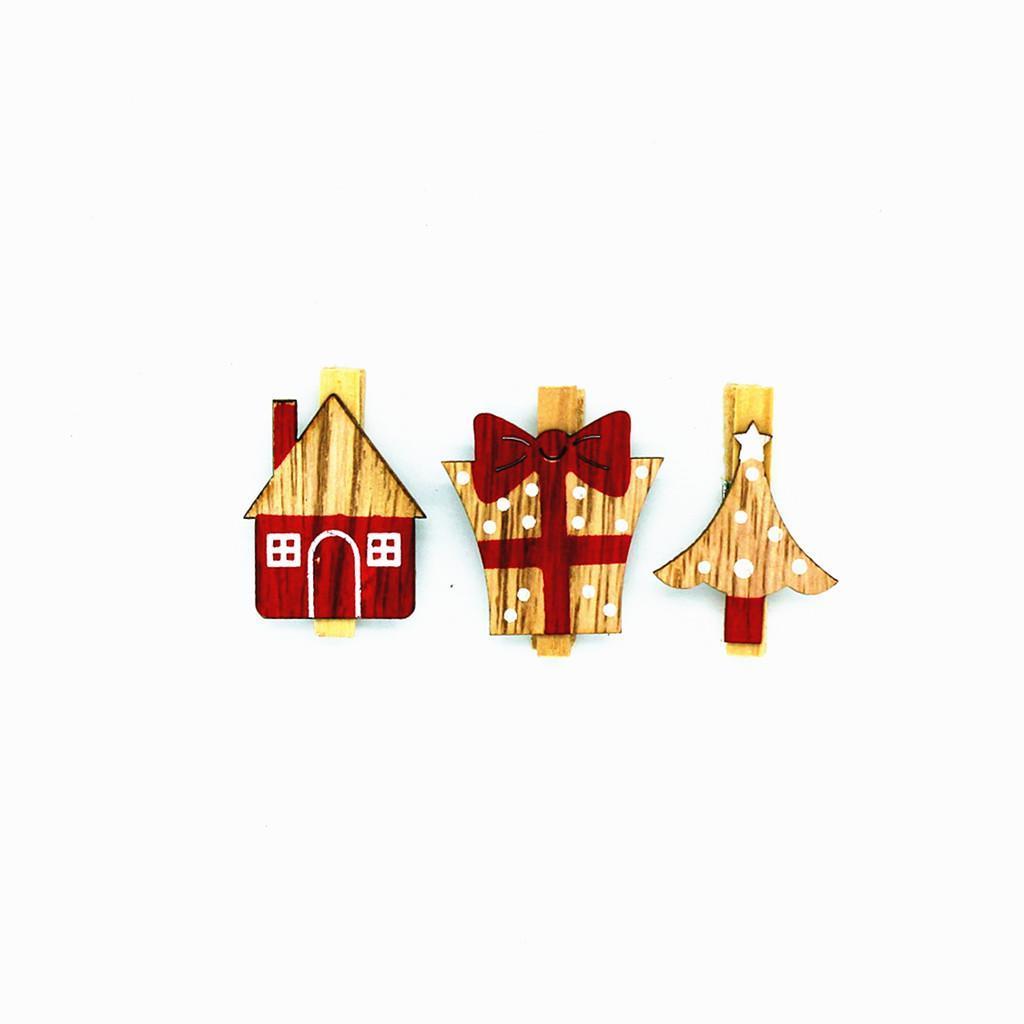 Memo-clips Holzklammern Deko Zierklammern Klammern Weihnachten Wäscheklammern